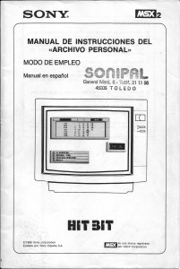 Manual de instrucciones del Archivo Personal (Sony)