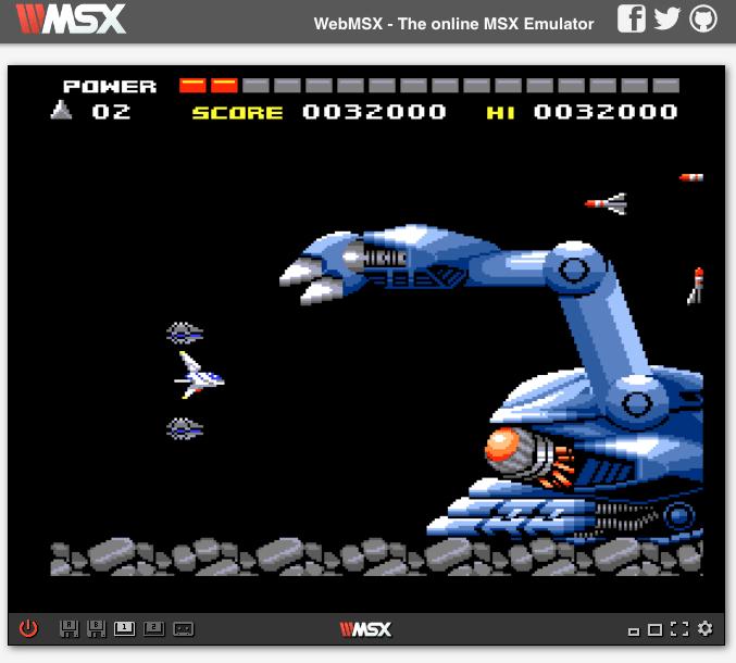 Space Manbow ejecutándose en WebMSX