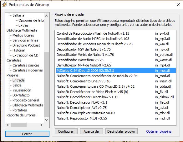 Plugins de Winamp MSXplug