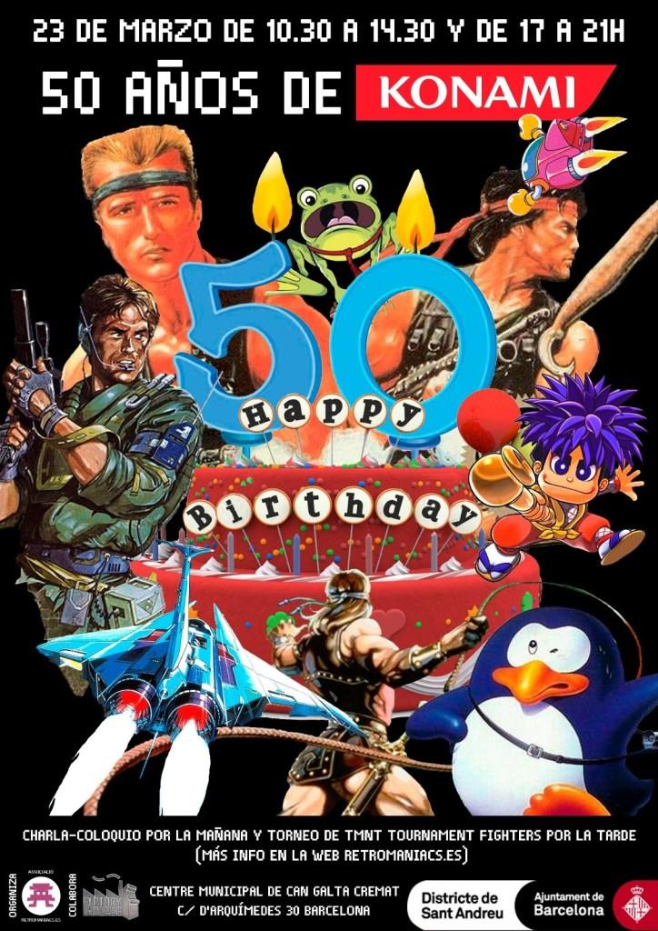 """Cartel de """"50 años de Konami"""""""