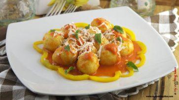 154.Gnocchi di patate ripieni di ricotta mustia e crema di peperoni di Cristina
