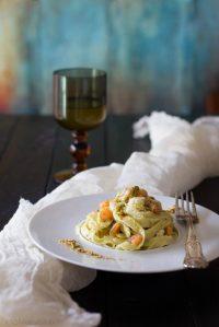 53.*Tagliatelle con gallinella, gamberetti e pesto di pistacchi di Lisa