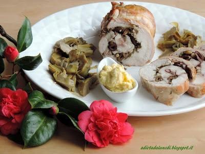 32. rotolo di coniglio affumicato e carciofi con salsa di aglio affumicato di Manuela