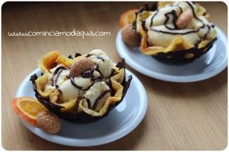 9. cestini di cioccolato con frittatina dolce e mousse di patate al cioccolato bianco di Elena A.