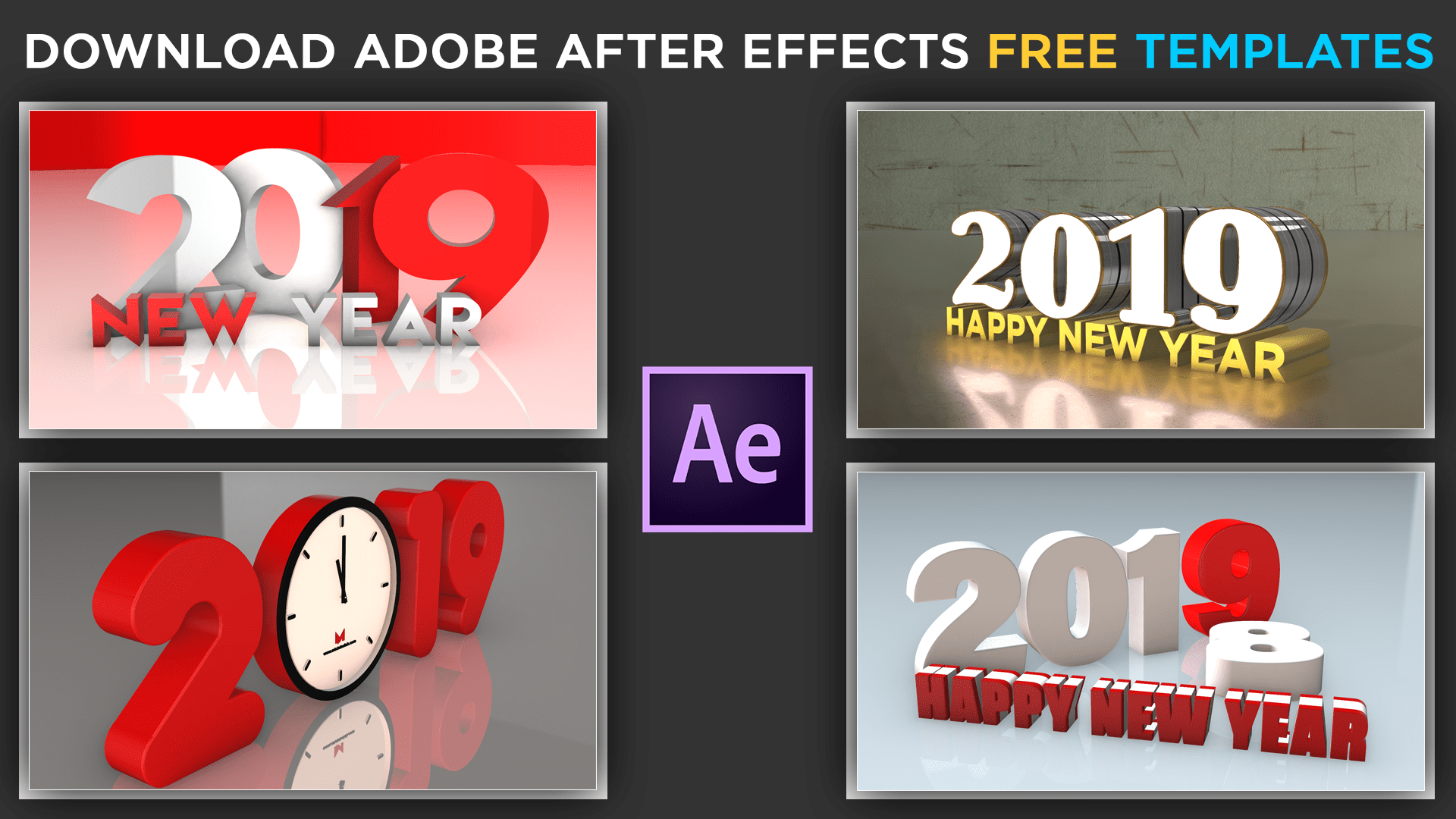 Happy New Year 2019 3D Animations Download Free Adobe After Effects Projects by mtc tutorials