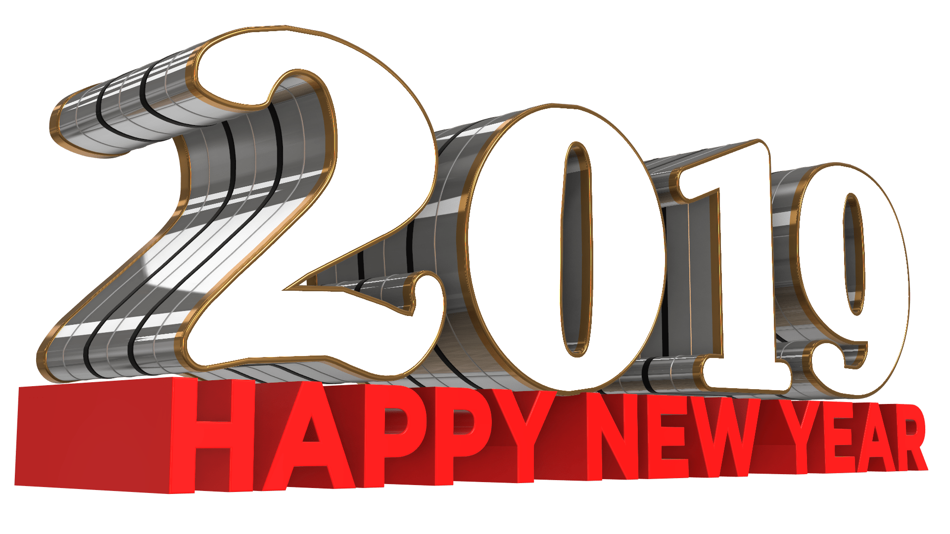 Happy New Year 2019 Free 3D PNG