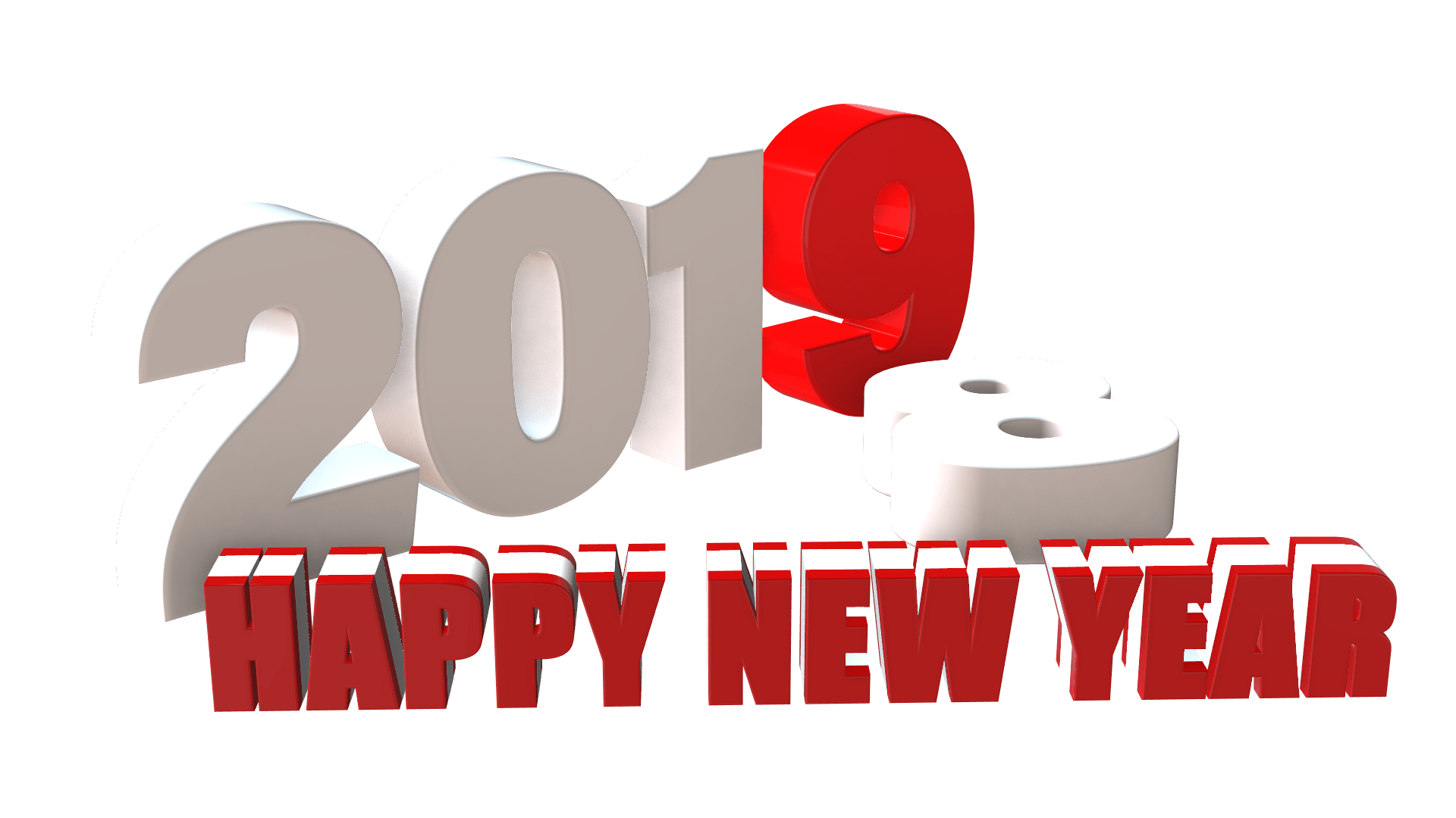 New year 2019 3D png free