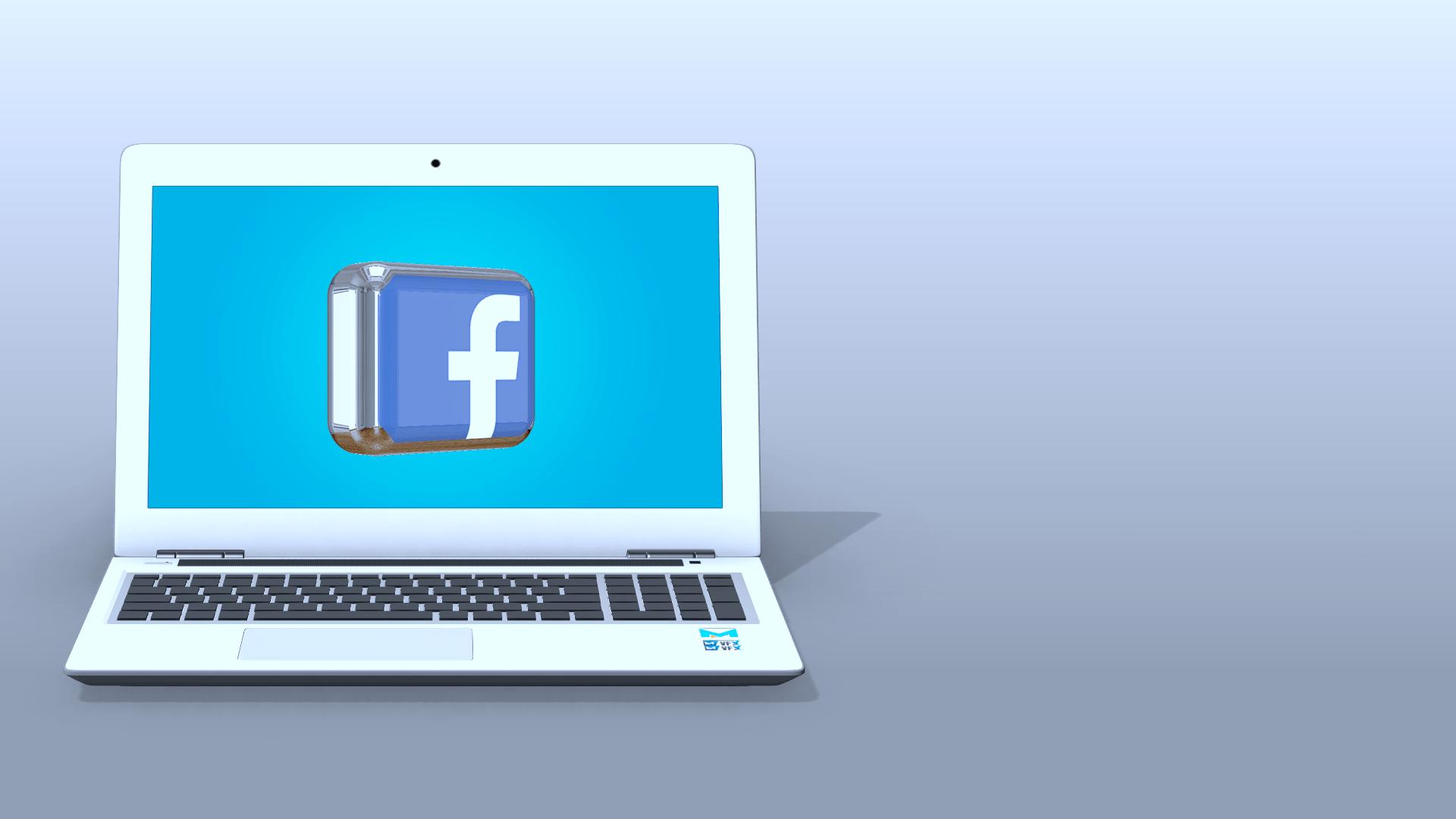 Free facebook 3d logo in laptop display