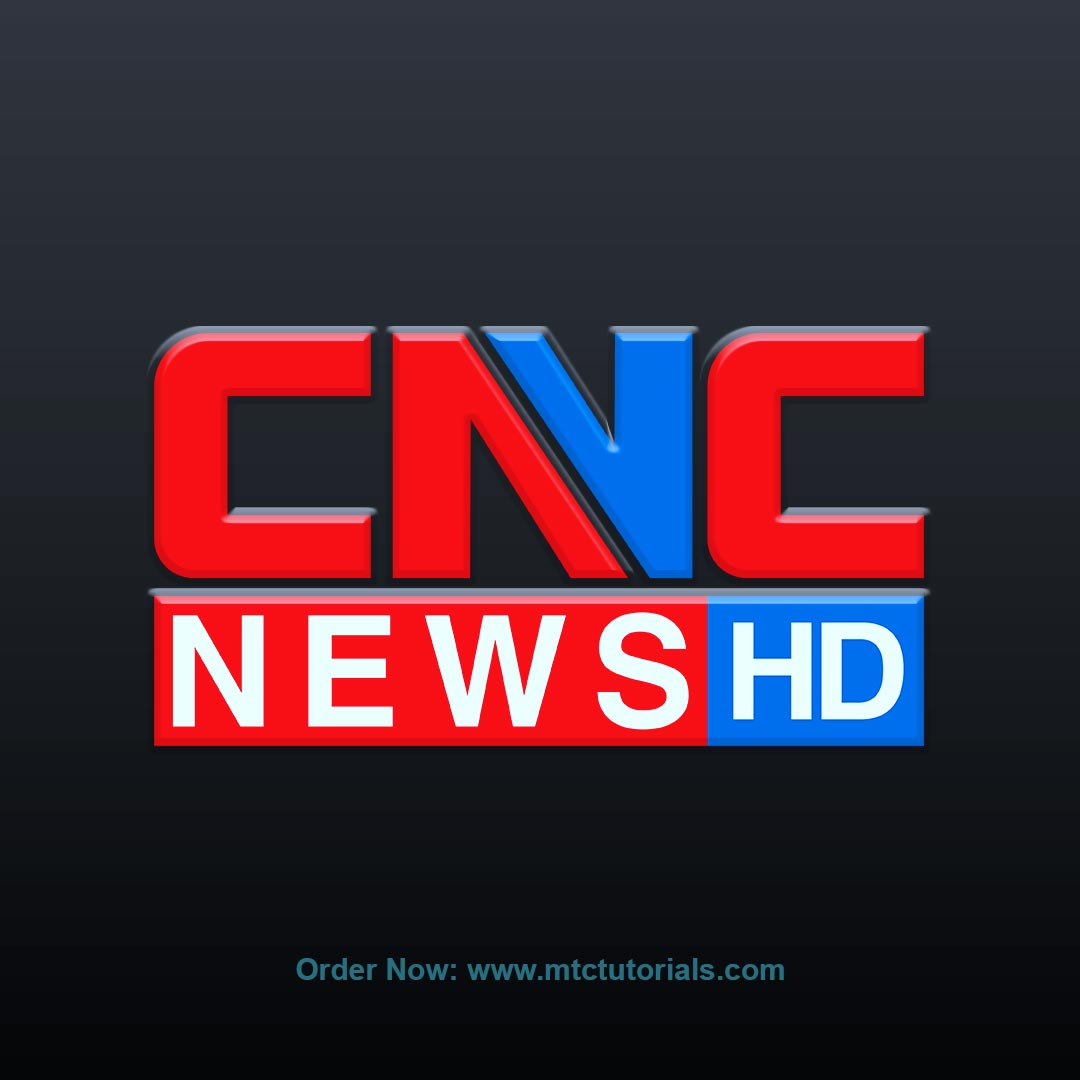CNC News HD logo design red and blue color by mtc tutorials
