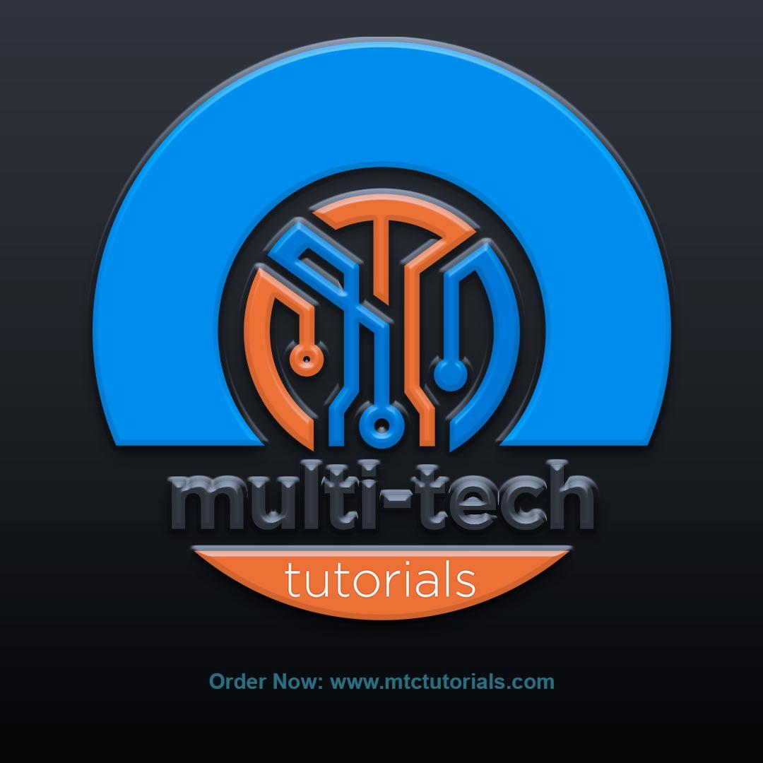 Multi tech logo orange and blue color design by mtc tutorials