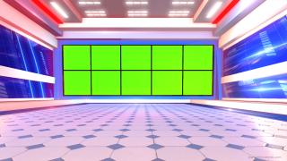 high quality news studio in green screen