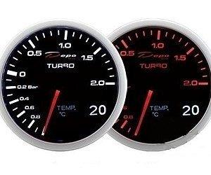 Manometro 2 in 1 - Turbo + Temp. Acqua/Olio - Depo Racing - 60mm