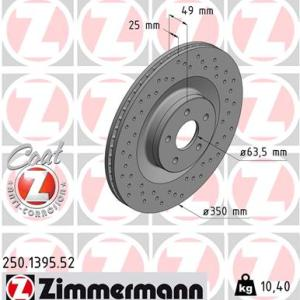 250.1395.52 dischi freno sportivi forati ventilati zimmerman sportz coatz anteriori ford focus rs mk3 350mm