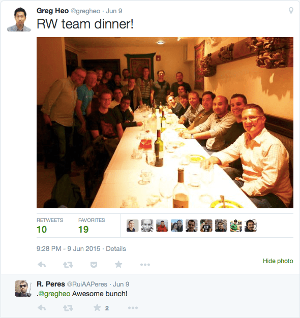 The RayWenderlich.com team dinner at WWDC15/AltConf15