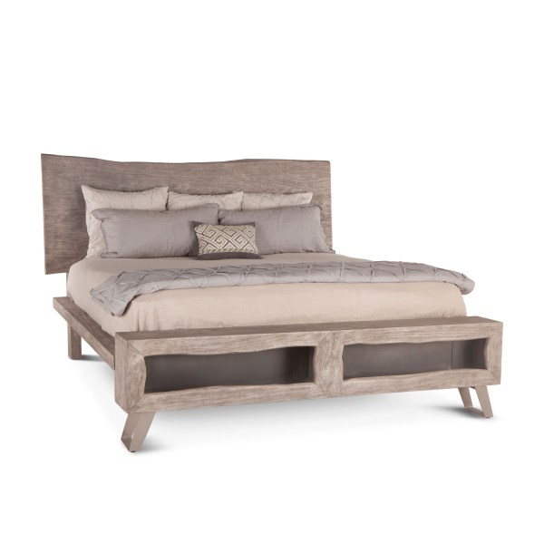 Wood Live Edge Bed Weathered Gray
