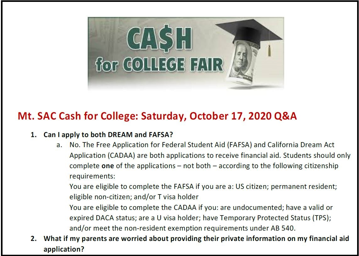 Cash For College Post