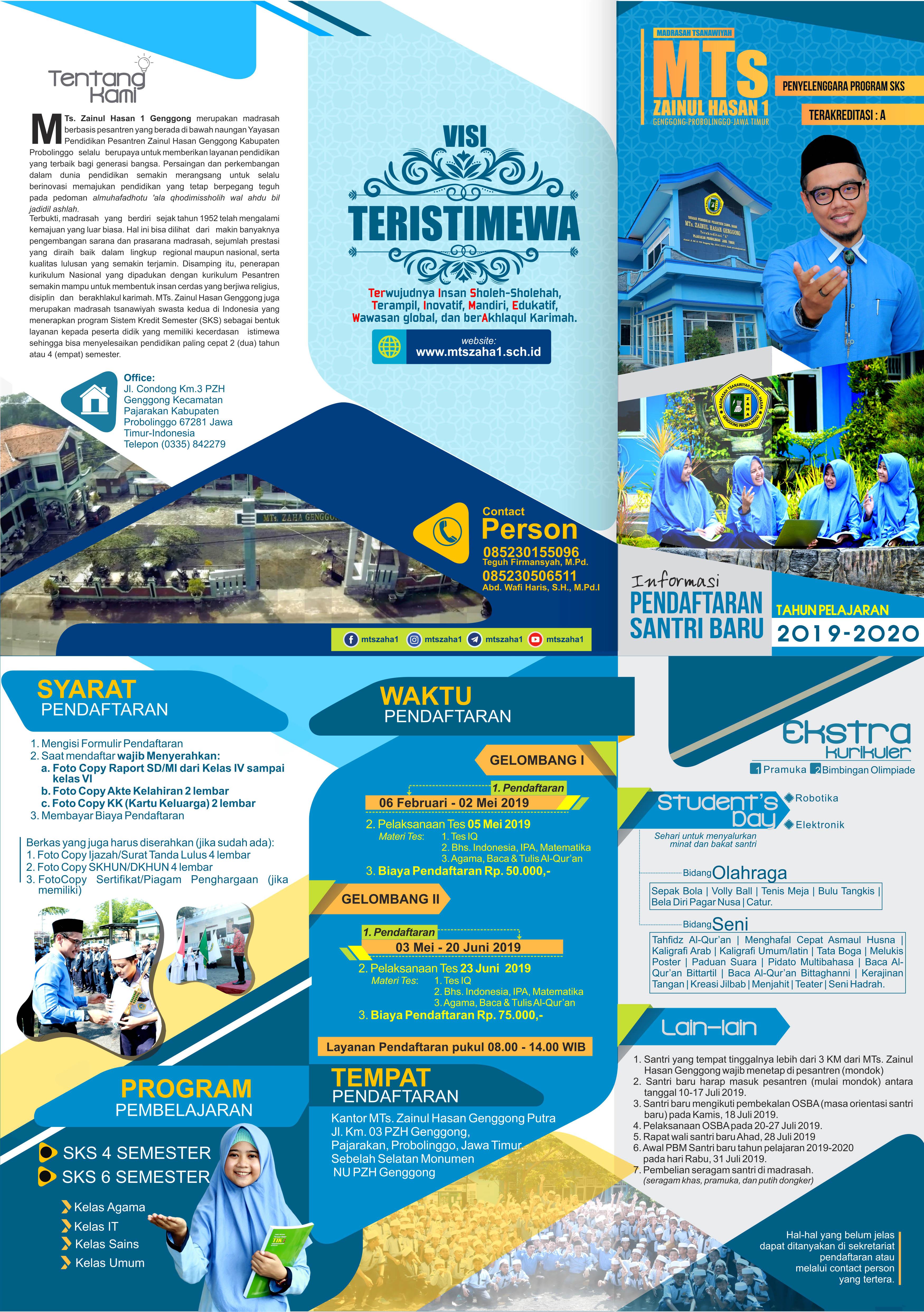 Brosur Ppdb 2019 2020 Mts Zainul Hasan 1 Genggong