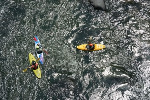 Kayakers from the Ohiopyle High Bridge