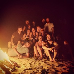 Chillen on the beach in front of the bonfire with some awesome people.