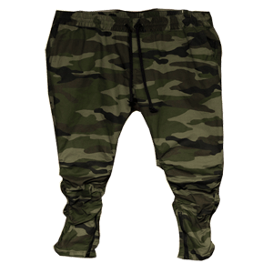 Men's Olive CAMO Twill Drop Crotch Pants