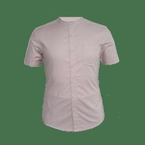 Men's Short Sleeve Band Collar Shirt