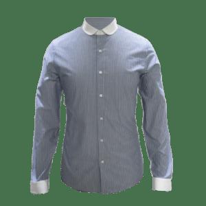 Men's Long Sleeve Striped Contrast Collar/Cuff Shirt