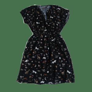 Women's Cap sleeve printed waist design dress