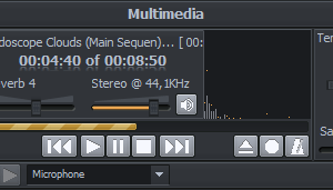 Multimedia's main window with extended record and tempo panel