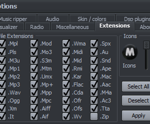 Supported extensions