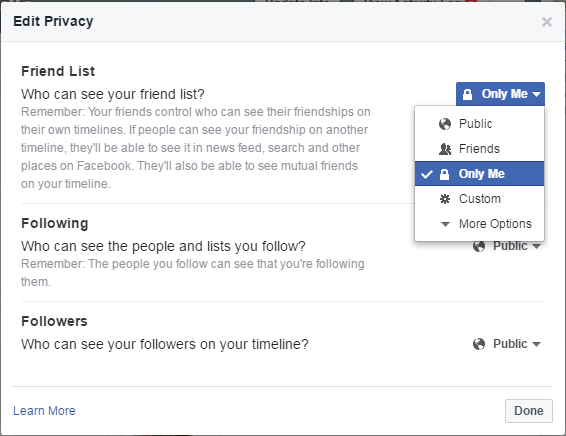 facebook friends privacy only me