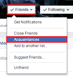 choose the option Acquaintance