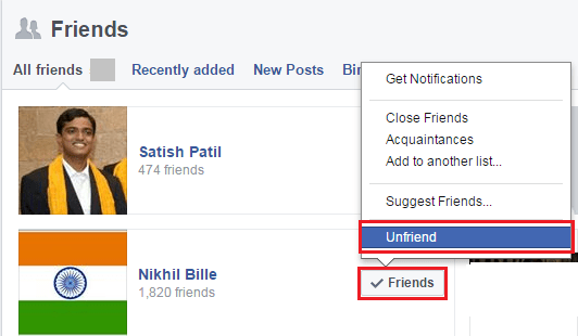 select the last option of 'Unfriend'