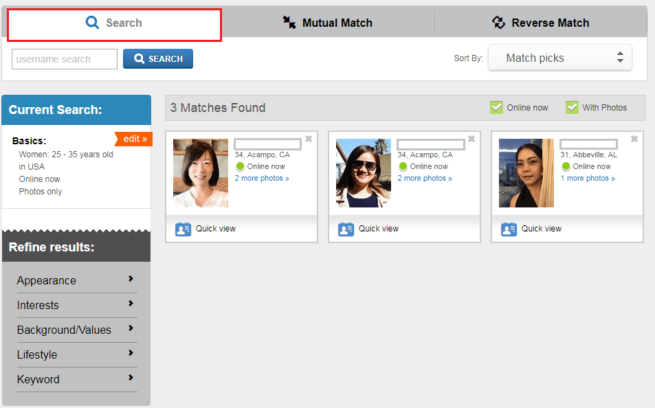 Match search without logging in