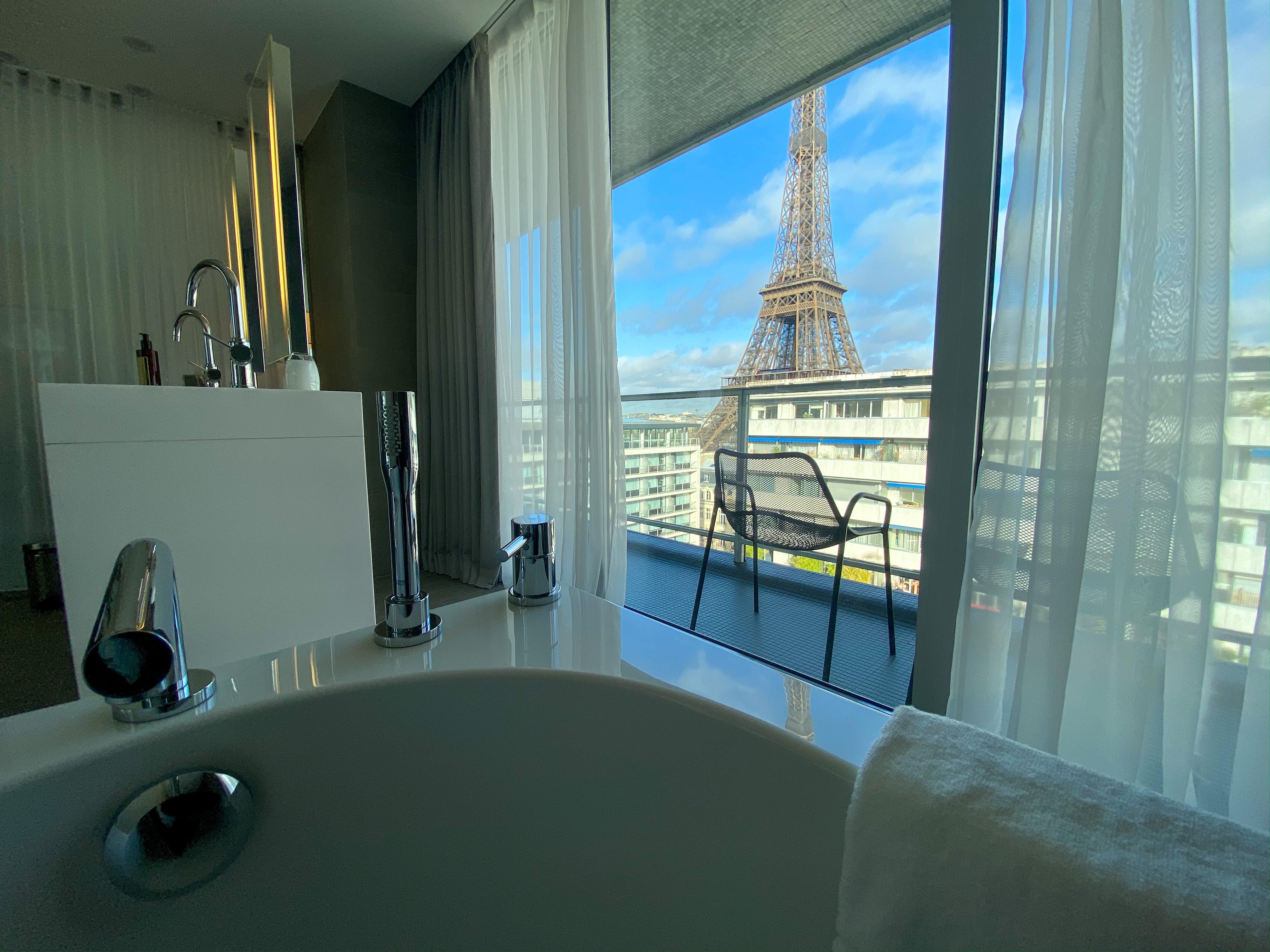Eiffel Tower View from the Bathroom