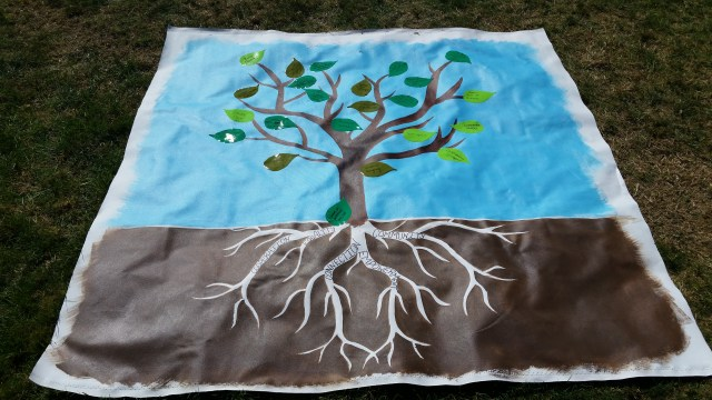 """A tree painted on canvas with roots that say """"cooperation"""", """"equality"""", """"connection"""", """"empowerment"""", and """"community"""". Green stickers leaves have been added with phrases like """"women in power"""", """"listen compassionately across differences"""", """"consent culture"""", and more (hard to read depending on the handwriting)."""