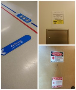 "Picture of three medical signs: radiology, nuclear medicine, and ""caution: lasers""."