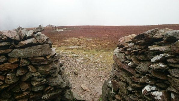 Looking out of the shelter on Moel Eilio