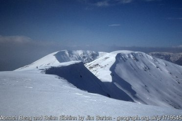 Aonach Beag and Beinn Eibhinn As seen from the ridge of Geal Charn.