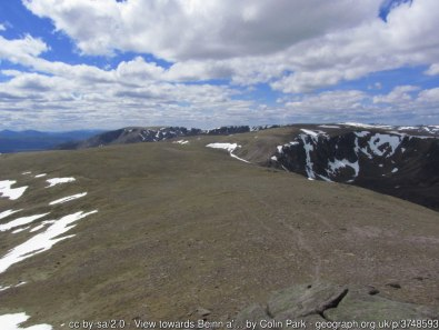 View towards Beinn a' Bhuird from the summit of Ben Avon