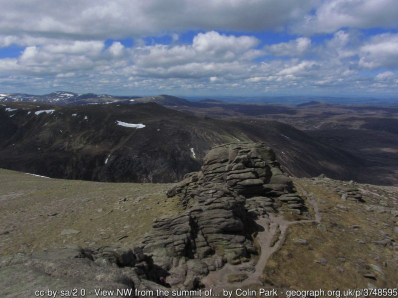 View NW from the summit of Ben Avon towards the northern Cairngorms