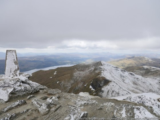 Atop Ben Lawers The summit of Ben Lawers with a view towards Beinn Ghlas and Killin at the head of Loch Tay.
