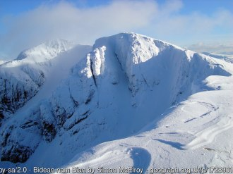 Bidean nam Bian The summits of Bidean nam Bian with Church Door Buttress descending in the midground to the left. Taken 21 February 2010 from the summit of Stob Coire nam Beith.