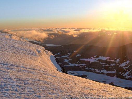 View ENE from near Ben Alder summit at dawn