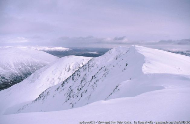 View east from Puist Coire Ardair Along the eastern ridge of Creag Meagaidh to Sròn a' Ghoire and across the Allt Coire Ardair to Carn Liath.