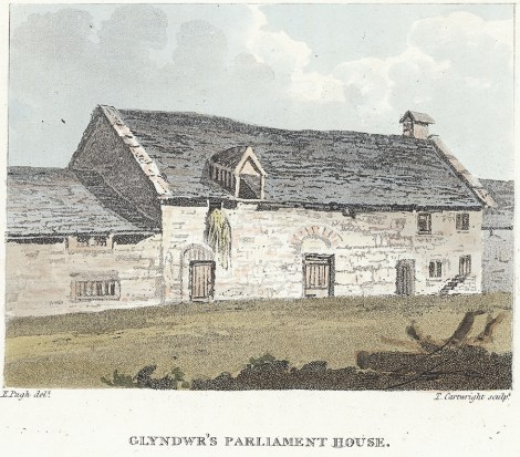 Owain Glyndŵr's Parliament House, Machynlleth, pictured in 1814