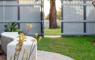 Concrete bench among filetti paving
