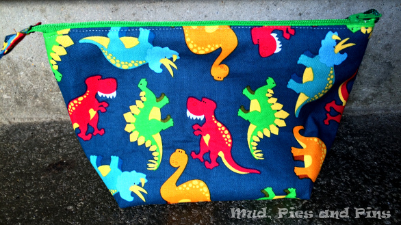 Zippered Dino pouch made by Renee from Quilts of a Feather | Mud, Pies and Pins