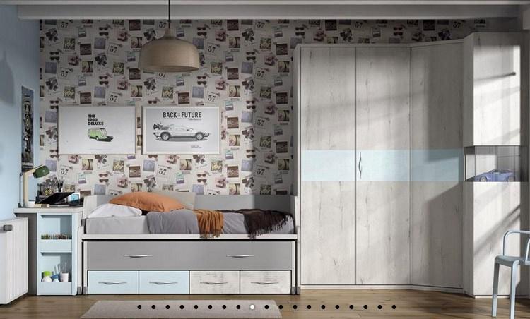 dormitorio Juvenil Styling Pastel-Cielo