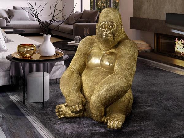 Figura grande de gorila sentado, realizada en poliresina, acabado en PAN DE ORO.
