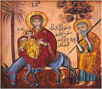 A Coptic image of Mary and Joseph bringing Jesus to Egypt.